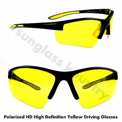 POLARIZED HD High Definition TAC YELLOW NIGHT DRIVING SUNGLASSES MEN'S UV400