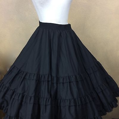 Square Dance Skirt Black Ruffled Tiers Partners Please  Size XL