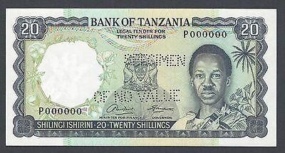 Tanzania 20 Shillings ND1966 P3as  Prefix P Specimen Perforated Uncirculated