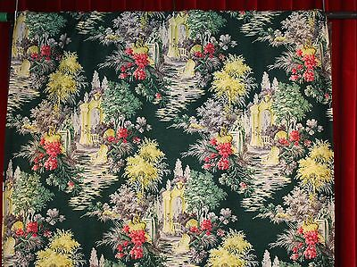 SINGLE 1950s CURTAIN. GREEN FLORAL.
