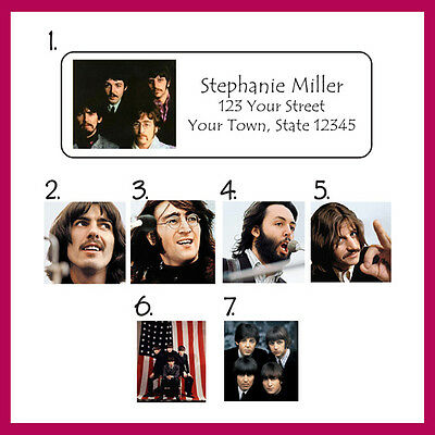 Personalized BEATLES Return Address Labels, 30 Per Sheet, Color Photos