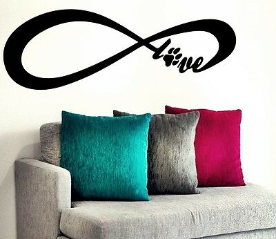 Infinity Love Dog - Puppy Dog's Paw Family Quote Decal Love Room Stickers Home