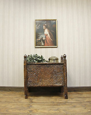 Antique Middle Eastern Carved Dowry Wedding Chest, Rustic Wooden Ottoman
