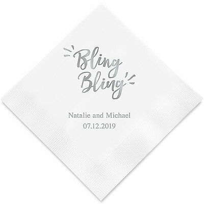 Personalized Printed Bling Bling Engagement Reception Party Napkins Q27560