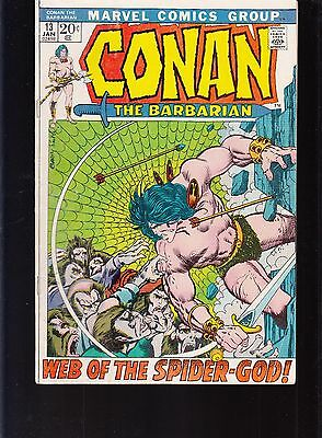 Conan The Barbarian  #13 1972  -Web Of The Spider-God-  Barry Smith...fn-