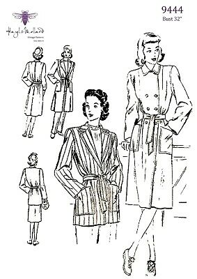 "1940's Vintage Sewing Pattern French Resistance Trench Coat Mac Bust 32""  WWII"