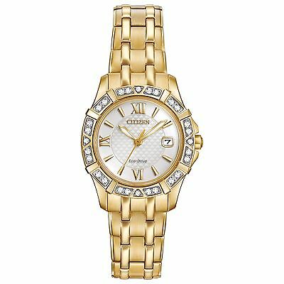 Citizen Eco-Drive Women's EW2362-55A Diamond Accent Gold Tone Bracelet Watch