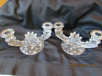 Pr Vintage Fostoria Glass Double  Candle Holders Chintz Etched Excellent