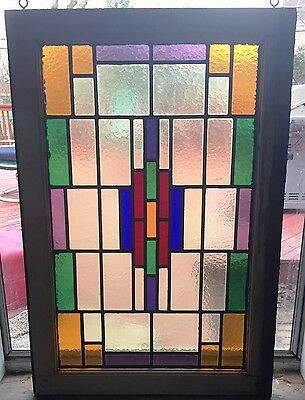 "Vintage Stained Glass Window 3' 2"" x 2' 2"""