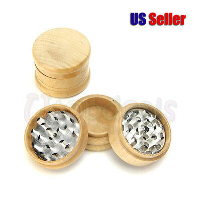 "Real Wood Grinder 2.3"" 3 Piece Diamond Teeth Spice Herb Crusher"