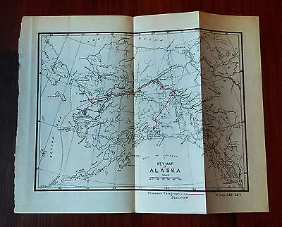 Early 1900's Key Map of Alaska Showing Proposed Telegraph Lines and Stations