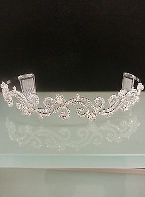 Wedding bridal tiara headband in silver colour with bling bling rhinestones