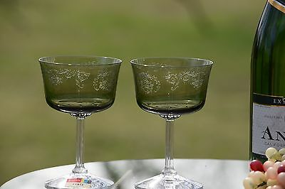 Vintage Etched Champagne Coupes, Fostoria Cameo Green Tall Cocktail Glasses