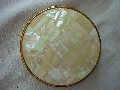 Vintage Kigu Gold Tone Metal & Mother Of Pearl Small Round Powder/Mirror Compact