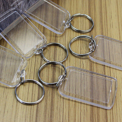 Lot 50 Transparent Blank Keyrings Insert Photo Picture Frame Split Ring Keychain