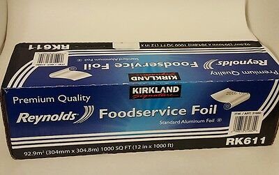 NEW! Kirkland RK611 Premium Quality Food Service Aluminum Foil (12 in x 1000 ft)