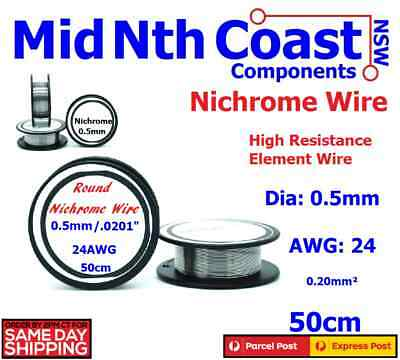 Nichrome Round Resistance Wire Dia 0.5mm 24AWG For Heating Elements 50cm