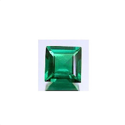 Lab Created Hydrothermal Emerald Green Square Faceted Loose stone (2x2-12x12)