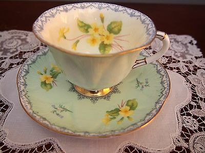 Shelley Footed  Dainty Cup and Saucer Green 'Primrose and Crochet' 13952/S3
