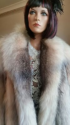 Vintage Genuine Long Silver Shadow Fox Fur Coat Jacket Sz M Full Pelts Mint Cond