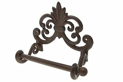 Vintage Cast Iron Wall Mount Toilet Tissue Paper Roll Holder Screw Anchor Brown