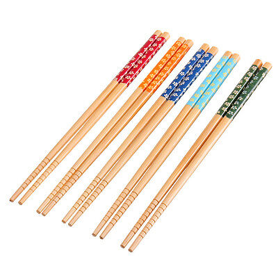 UK 5 Pack Natural Bamboo Wood Painted Chopsticks Reusable Chinese Japanese