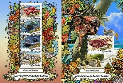 Z08 MLD17201ab MALDIVES 2017 Crabs and lobsters MNH Mint Set