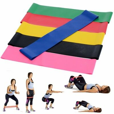 6pcs Bande de Résistance Elastique Musculation Yoga GYM Exercice Fitness Pilates