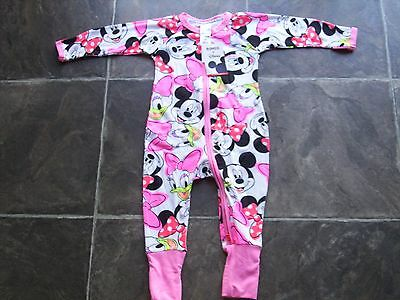 BNWT Baby Girl's Bonds Minnie Mouse Zip Wondersuit Coverall/Onesie/Romper Size 0