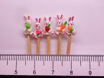 1:12 Hand Made Polymer Rabbits (5) On A Stick Dolls House Miniature Nursery Toy2