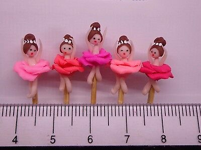 1:12 Hand Made  Ballet Dancers (5)On A Stick Dolls House Miniature Nursery