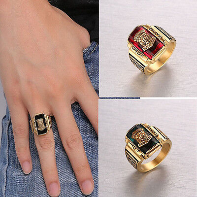 Size8-11 Men's Multicolor Tiger Stainless Steel Ring Punk Party Band Accessorie