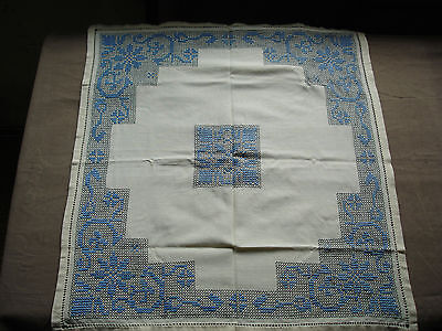 #740  Beautiful Vintage Hand Embroidered Tablecloth  62cm/67cm(24''/26'')