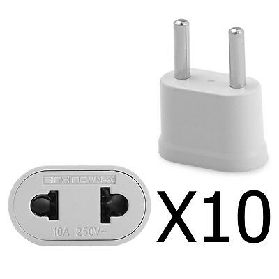 10 Pack US USA to EU Euro Europe AC Power Plug Converter Travel Adapter Charger