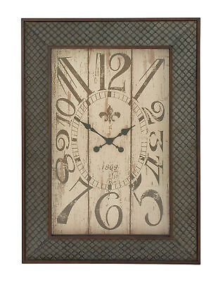 Black Metal Wall Clock Wire Mesh Frame Detail Antique Retro Numbers 20223