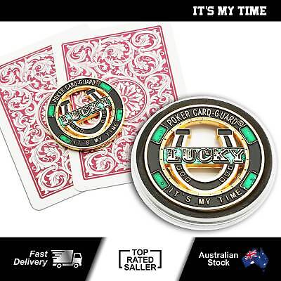 It's My Time Brass Card Guard Protector Poker Accessory Gambling Casino Luck