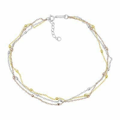 Eternity Gold Triple-Strand Beaded Anklet in 14K Three Tone Gold