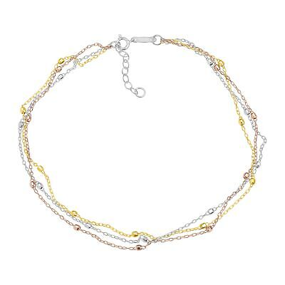 Just Gold Triple-Strand Beaded Anklet in 14K Three Tone Gold