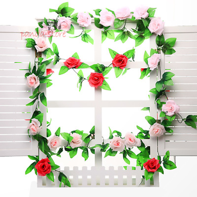 Rose Flower Vine Sikl Artificial Leaf Wedding Plants Fake Foliage Plastic 2.4M