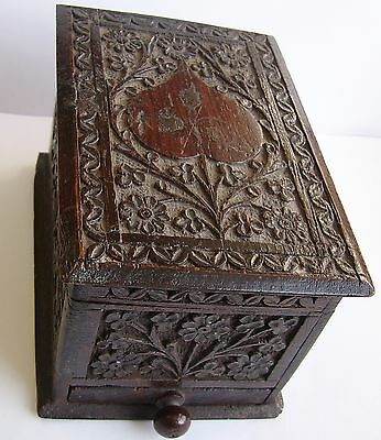 Antique Very Well Hand Carved Wooden Box. Beautiful Carving Possibly Bog Oak..