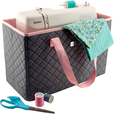 "Everything Mary  Sewing Machine Carry Tote-17""X8""X11"" Grey Polka Dots & Pink Tri"