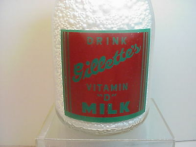 Gillette's Dairy 1 qt milk bottle  Wyoming ?  2 color  Dutch windmill  NICE