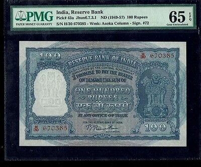 100 Rupees (1949-57) Red Serial , Rama Rao note UNC PMG-65 EPQ Pick #43a