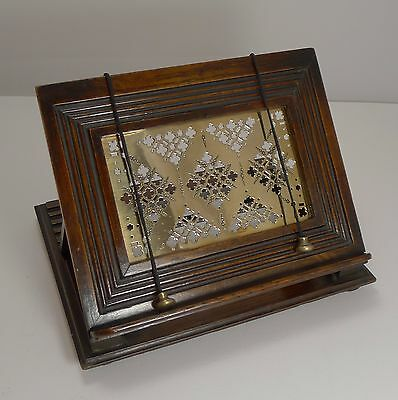 Antique English Oak & Brass Book Rest / Lectern c.1880