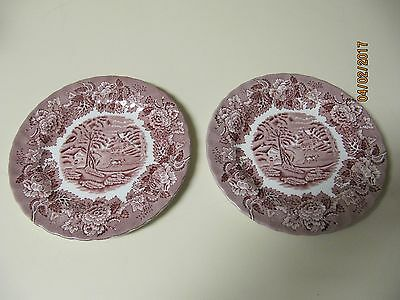 2 Wood & Sons Bread/Butter Plates --- English Scenery (Pink) --- Black Backstamp