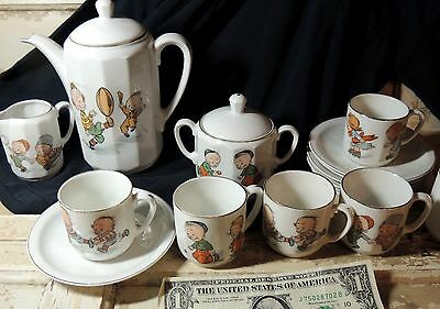 Antique vtg c1900 German Porcelain Child TEA SET Pot Cup SPORTS Football Marbles