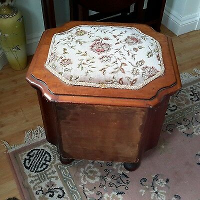 Victoria Mahogany? Commode With Pull Out Step & Ceramic Chamber Pot.tapestry Top