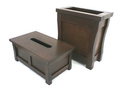 Duo wooden trash can and tissue box holder. Mission style. Oak. NEW! CQ-2-75