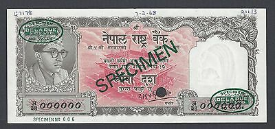 Nepal 10 Rupees ND 1961 P14s Specimen TDLR Uncirculated