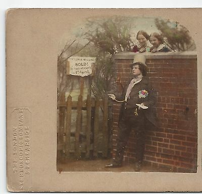 Stereo Stereoview Genre THE FIRST OF APRIL LONDON STEREOSCOPIC COMPANY ca. 1860